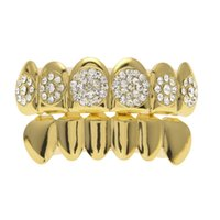Wholesale Grill Fitting - New Custom Fit Gold Plated 4 Lows Iced out Hip Hop Teeth Grillz Top Grill for Halloween Christmas Party Gift