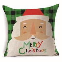 Wholesale santa claus bedding - Christmas Square Cushion Cover Pillow Case Santa Claus Decorative Sofa Bed Car Decoration Ornament Home Decor Gift Pillowcase Sofa Flax