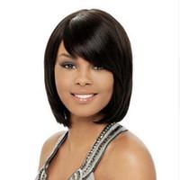 черные волосы человеческих волос парики оптовых-Высокое качество Боб короткие прямые полные парики моделирование человеческих волос Короткие боб парик стиль боковой части парики для черных девочек
