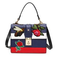 Wholesale Flora Bags - 2017 new women designer handbags embroidery bee flora cross body bags for women handbags fashion luxury handbags women bags