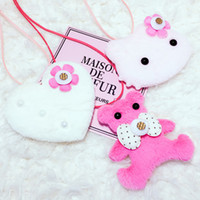 Wholesale Bear Kitty - Cute Kawaii Kids Bear Love Hello Kitty Head Pendent Necklace Flannel Cloth Choker for Girl Kids Gift Jewelry Accessory Wholesale