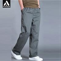 Wholesale wide leg cargo pants - Wholesale-Spring Autumn New Big Mens Plus Size XXXXL 5XL 6XL Army Green Cargo Pants Man Wide Legs Simple Trousers