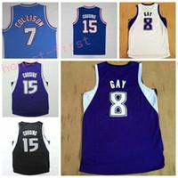 Wholesale Discount Black Uniforms - Discount 8 Rudy Gay Jerseys Uniforms 15 DeMarcus Cousins Throwback 7 Darren Collison Rev 30 New Material Purple Black White Blue
