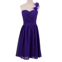 Wholesale One Shoulder Fancy Dress - Simple Flowers Fancy One Shoulder Lace up Chiffon Crystal Pleats Bridesmaid Dresses A Line Knee Length Wedding Party Gowns