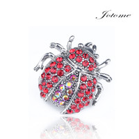 Wholesale Beetle Pin - 100PCS Lot 2017 Insect Beetle Ladybug Shaped Red Rhinestone Alloy Animal Brooches Spring Summer In Bulk Wholesale