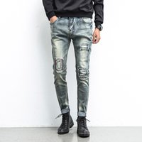 Wholesale men jeans china - Wholesale-New Style Patchwork Mens Jeans Straight Regular Fashion Cheap Small Straight Mens Jeans Brand Clothing Cotton Mens jeans China