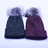 Wholesale mink fur knitted hat for sale - Group buy Mink Fur Pom Poms Knitted Hat Ball Beanies Winter Hat For Women Girl S Wool Hat Cotton Skullies Female Cap