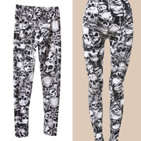 Wholesale Punk Rock Clothing Women - Wholesale- 2016 New Arrival Brand Fashion Gothic Punk Rock Skull Printed Leggings For Women Girl Leggings Women's Clothing