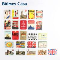 Wholesale Paper London - Wholesale- home decoration 24 PCS UK England London tower bridge refrigerator fridge magnets set souvenir UK queen magnetic stickers