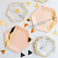 Wholesale Birthday Paper Plates Wholesale - Wholesale- 120 Sets Gold Marble Pink Tableware Paper Plates Cups Napkin Straws Birthday Dinner Dessert New Years Eve Christmas Decorations