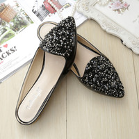 Chaussures Femmes Mochets Sandales Bling Flats Slides Mules strass Chaussons Pointed Toe Chaussures confortables Aimant noir