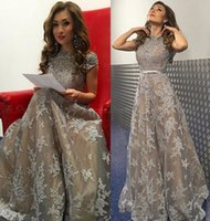 Wholesale Nude Rhinestone Long Sleeves Dresses - 2017 Elegant Grey Lace Evening Dress with Sleeves Beaded Rhinestones Appliques Off the Shoulder Long Formal Prom Dresses Robes