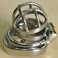 Wholesale Cage Cockring - Chastity Device Cock Cage with Metal Anti-drop Ring Stainless Steel Chastity Cage Anti-drop Ring Cockring BDSM Toy for Men G199