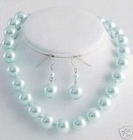 Wholesale Southsea Shell Pearl Silver - fashion jewelry southsea shell sky-blue pearl necklace earring 12mm