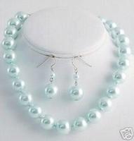 Wholesale Southsea Pearls Earrings - fashion jewelry southsea shell sky-blue pearl necklace earring 12mm