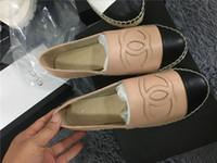 modell flache sandalen großhandel-MIT BOX Espadrilles Frauen flache Ferse Fischer Sommer Sandalen Klassische Wohnungen Schuhgröße 35-40 Modell