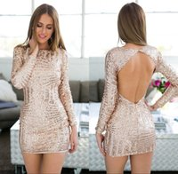 Wholesale Cheap Bling Shirts - 2018 Glitz Bling Rose Pink Sequined Mini Cocktail Dresses Sheath Sexy Backless Vestidos de fiesta Short Homecoming Gowns Cheap