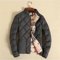 Wholesale windbreaker button down - Wholesale- Winter Men Jackets Diamond Thick Coat Gray Navy Khaki Warm Men M-5XL Pluse Size Windbreaker Male High Quality Outwear A2691