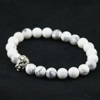 Wholesale Tibet Natural Turquoise - 8mm Natural White Turquoise Stone Beads Bracelet for Women,Antique Silver and Gold Lion Head Bracelets, High Grade Mens Jewelry