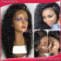 Wholesale Pink Afro - Loose Curly Fadhion Heat Resistant Fiber Long Black Curly Synthetic Lace Front Wigs Black & Brown Afro Kinky Curly Synthetic Lace Front Wig