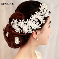Wholesale Handmade Party Hats - Red White High Quality Handmade Bridal Hats with Pearl Wedding Accessories Flower Bride Pearl Hair Jewelry Dinner Party for Women
