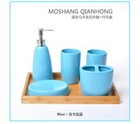 Wholesale Ceramic Lotion Bottles - color Environmental ceramics bathroom 5pcs set European contracted design bathroom supplies wash cup +lotion bottle+ brush holder+soap dish