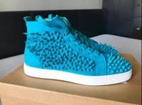 oi top marcas venda por atacado-Top de presente de aniversário Top marca Red Sole moda HI Sneakers homens camurça plana azul Riveria Pik Pik tênis de alta qualidade 35-46 atacado loja
