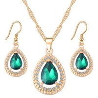 Wholesale Earrings Supplies - Hot style drop shape pendant crystal sweater necklace earrings jewelry sets women's sweateraccessories factory supply red blue green optiona