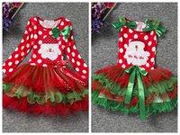 Wholesale Christmas Tutus Baby - Baby Girls Christmas Dress Xmas Santa Claus Clothes Sets Kids Long Sleeve Dot Bow Princess Dresses Infant Lace TUTU Skirts