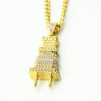 Wholesale Gold Couple Necklaces - New Jewelry Goldon Plated Plug Pendants Chain Necklace Hipsters Hip Hop Jewelry Men Women Lovers Bijoux Couple Joyas