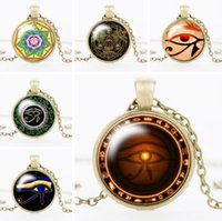Wholesale Love Glass Model - 2017 New Vintage The Eye Of Horus Gemstone Pendant Necklaces For Man Women Mix Models Fashion Jewelry 3 Colors