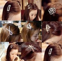 Wholesale Hair Diamond Barrette - Diamond drill full Bowknot hairpin crystal crown hair clips Ms duck mouth clamp Bride crystal hairpin