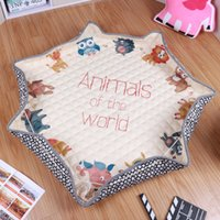 Floor outdoor play carpet - Portable Folding Cartoon Cotton Round boys girls Crawling Playing Mat Pad Outdoor Toys Storage Bags Organizer Blanket Carpet cm