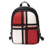 Wholesale England Style Women - 3 colors England Style PU leather women Backpack Two-tone Fashion knapsack for women girls teens college student bags hot travel packsack