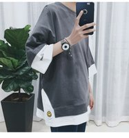 Wholesale Long T Shir - 2017, the new style of short sleeved shorts, retro stitching, hit color, smiling face, embroidered T-shirt, Korean men's casual leisure shir