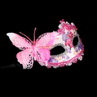 Wholesale Half Mask Butterfly - Fashion Butterfly Flower Lace Mask for Party Ball Bar Masquerade Carnival Christmas Halloween Festivals Half Face Princess Masks