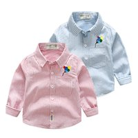Wholesale Wholesale School Shirts - Boutique Boys clothing shirts Long sleeve Striped balloon embroider 2017 Autunmn Spring Students school boy middle children Tops 2-7years