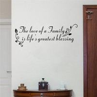 Wholesale Great Wall Decals - the Love of a Family is Life Greatest Blessing Quote Wall Decals for Living Room Art Vinyl Wall Stickers Various color