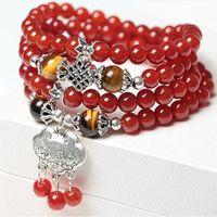 grânulos de ágata vermelha china venda por atacado-Ágata vermelha natural 108 Buda Beads Multi-turn Pulseira de Jóias de Cristal