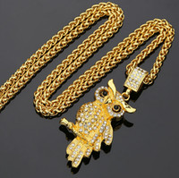 Wholesale Owl Necklace Men - Hiphop Pendants & Necklaces Rhinestone Crystal Vintage Classic Owl Pendant Necklace Hip Hop Fashion Animal Jewelry Men Women