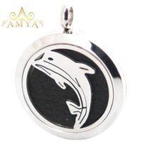 Wholesale dolphin locket chain for sale - Group buy 1pcs magnet mm plain dolphin Aromatherapy Essential Oil surgical Stainless Steel Perfume Diffuser Locket Necklace with chain inclu