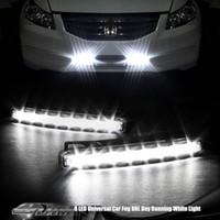 Wholesale Head Lights Daytime - 2PCS lot Universal Car Light Car Fog Lights Super White Head Lamp Car Styling 8 LED Daytime Running Light 12V DC