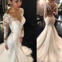 Wholesale sexy fishtail dresses - Long Sleeve Mermaid Wedding Dresses 2017 Illusion Vestido De Noiva De Renda O-Neck Sheer Back Slin Fishtail Bridal Gowns