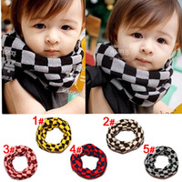 Wholesale Baby Neckerchiefs - Children Scarf Fashion Classical Plaid Boy Girl Ring Scarf Winter Check Shawl Unisex Knit Wool Collar Neck Warmer Baby Neckerchief C1736