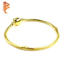 Wholesale Mix Size Snake Bracelets - BELAWANG Mix size Retro Rose Gold Original Bracelet with 17-21CM Silver Plated Snake Chains fit European Style Beads DIY Jewelry Accessories