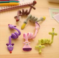 Wholesale Earphone Cable Wrap Winder Organizer - 9 style Cartoon Wrap Cable Wire Tidy 3D Animal Earphone Winder Organizer Holder for Headphone cell phone MP3 MP4 C1425