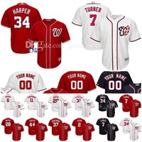 Wholesale Baseball Jerseys Washington - Custom Washington Nationals jerseys Bryce Harper Trea Turner Scherzer Murphy Strasburg Werth Giolito Eaton Rendon Zimmerman baseball Jersey