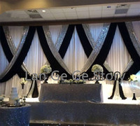 Wholesale luxury curtains - Luxury  NICE Free shipping ice silk WHITE wedding backdrops  CURTAINS with black swags and silver sequin  drapes 3M*6M