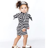 Wholesale striped girl christmas dresses - Ins Girls Dresses Autumn Spring Kids Stripe Princess Dress England Style Children Dress Baby Winter Clothing