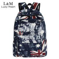 Wholesale Uk Flag Bag Man - New 2017 Graffiti Backpack Fashion Men Women Canvas Backpacks UK Flag Printing Rucksack Travel School Laptop Bags mochila XA627H